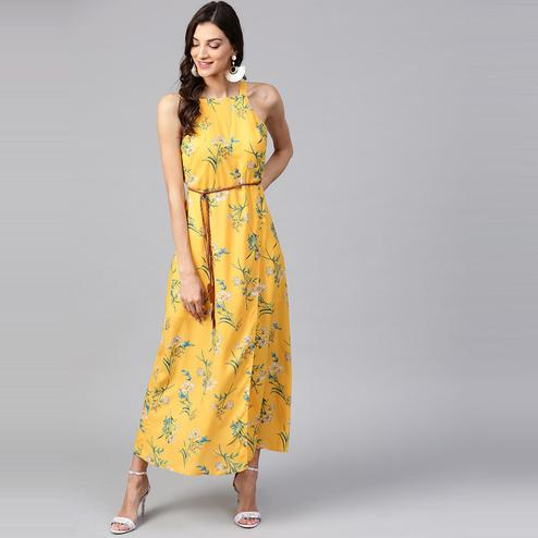 Zima Leto - Women's Yellow Floral Strappy Incut Maxi Dress With Belt