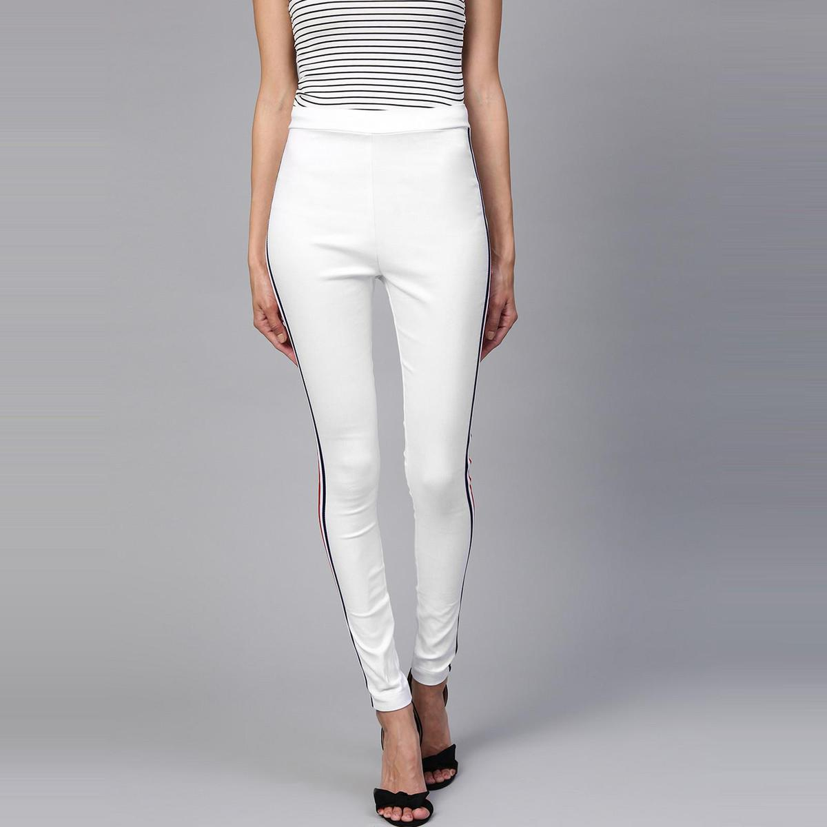 Zima Leto - Women's White Jegging With MultiColor Side Taping