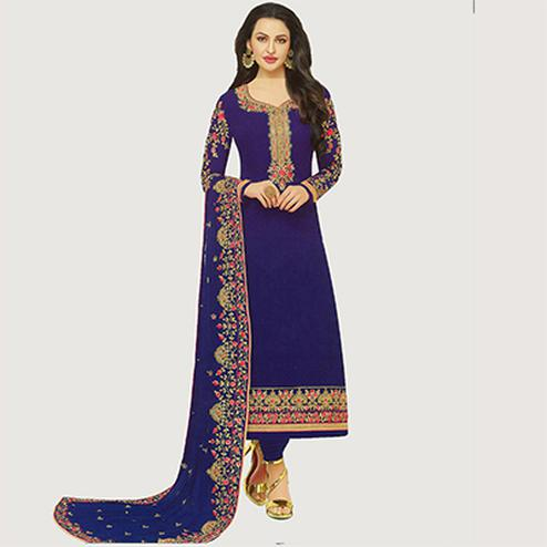 Lovely Blue Designer Embroidered Georgette Salwar Suit