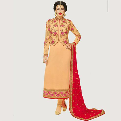 Gorgeous Peach Designer Embroidered Georgette Salwar Suit