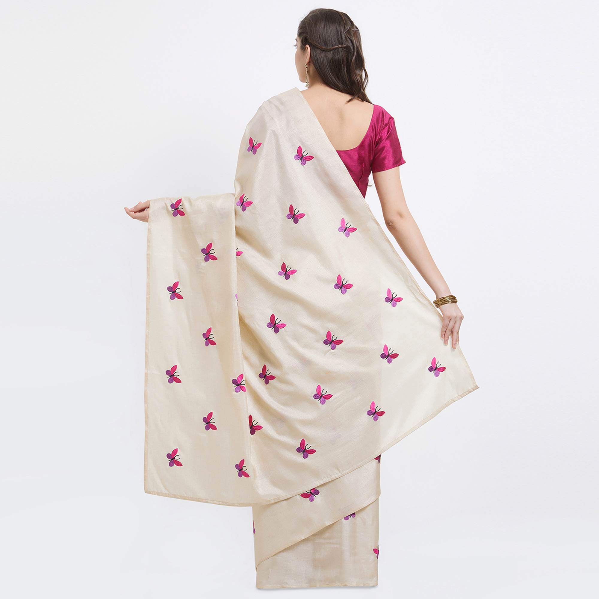 Ravishing Cream Designer Embroidered Manipuri Silk Saree