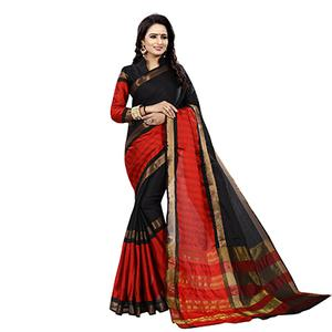 Black-Red Festive Wear Bhagalpuri Cotton Slub Saree