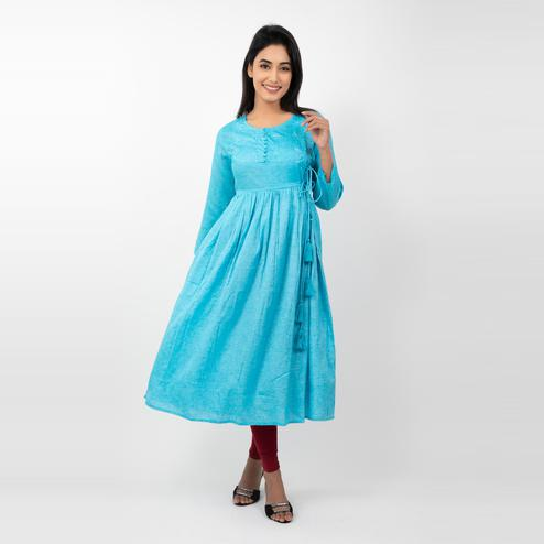 Avinda - Women's Aqua Blue Colored Solid Flared Long Gown With Hand Embroidery Work