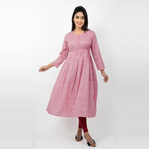 Avinda - Women's Pink Colored Solid Flared Long Gown With Hand Embroidery Work