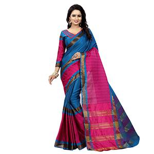 Blue-Pink Festive Wear Bhagalpuri Cotton Slub Saree