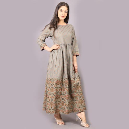 Avinda - Women Brown Colored Cambric Cotton Flared Long Gown
