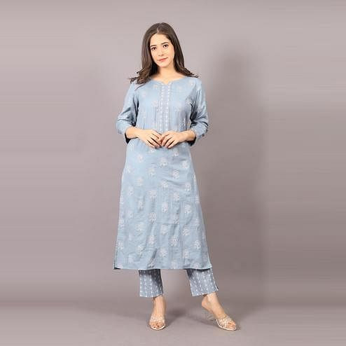 Avinda - Women's Grey Colored Cotton Blend Kurta With Pant Set With Silver Work