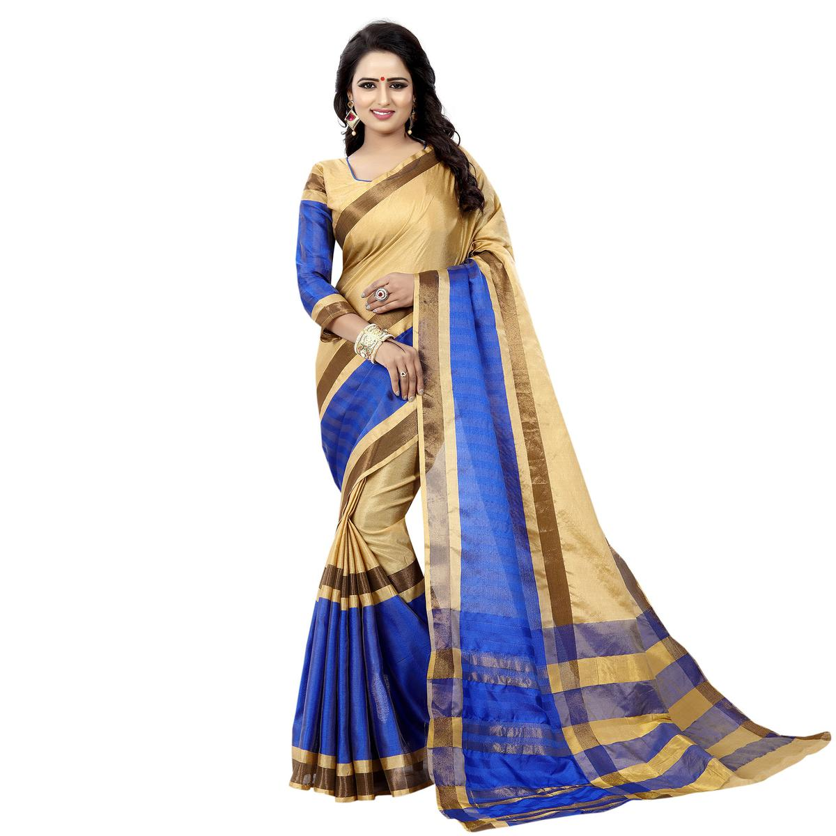 Cream-Blue Festive Wear Bhagalpuri Cotton Slub Saree
