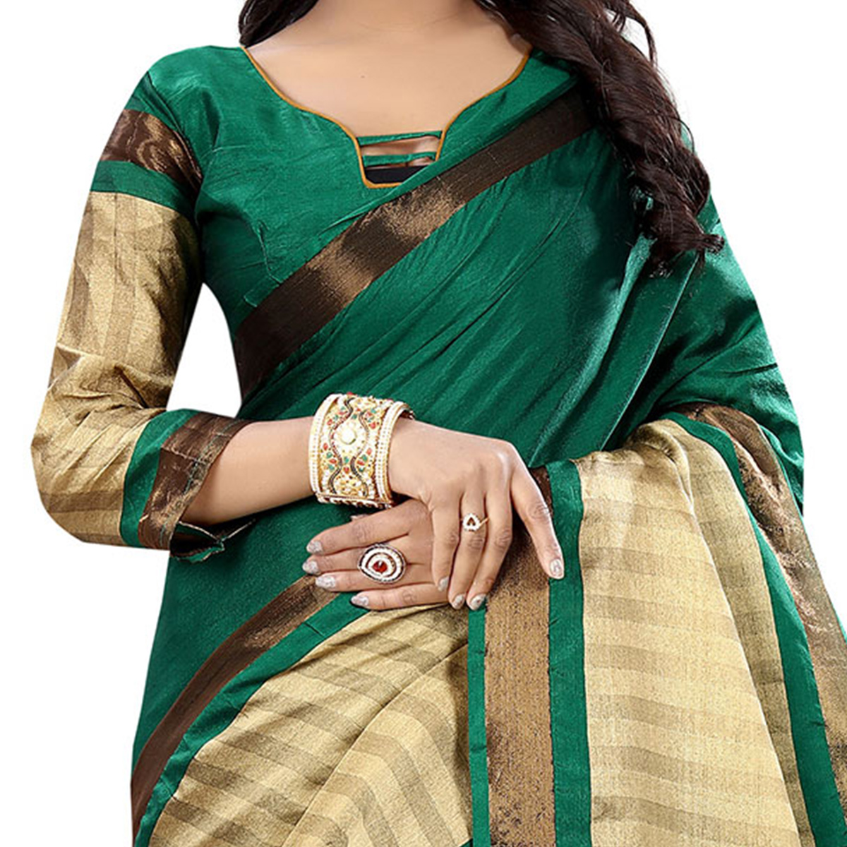 Dark Green Festive Wear Bhagalpuri Cotton Slub Saree