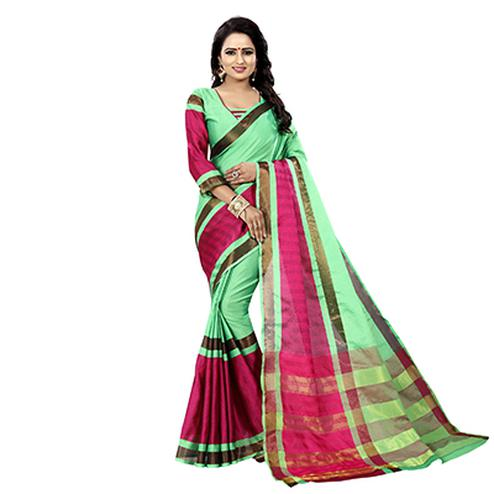 Light Green-Pink Festive Wear Bhagalpuri Cotton Slub Saree