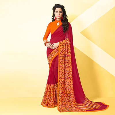 Mesmerising Maroon-Orange Designer Digital Printed Georgette Saree
