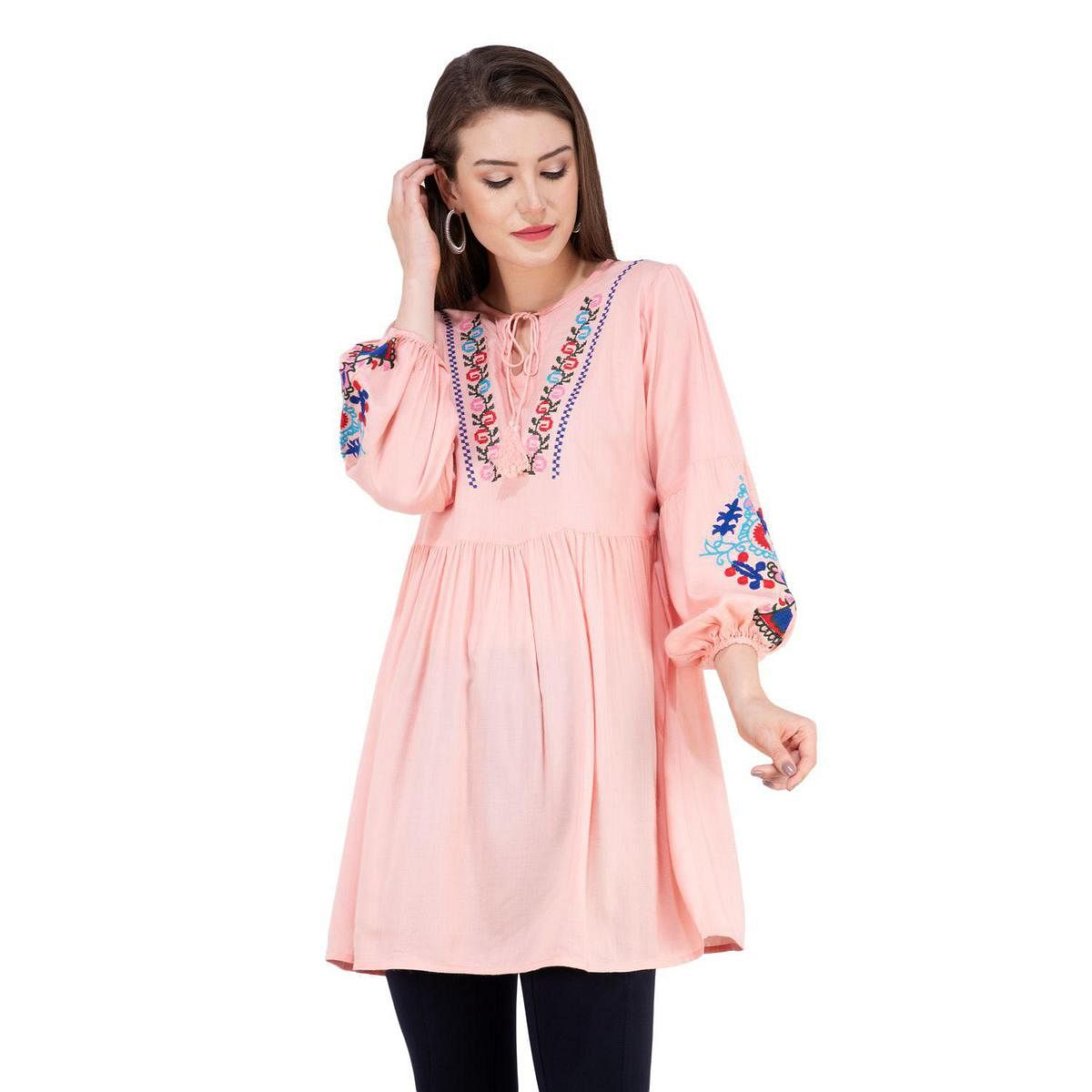 SAAKAA - Women's Rayon Pink Embroidered Top
