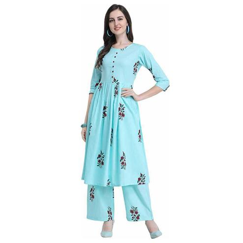 Poshak - Aqua Blue Colored Casual Block Printed Cotton Kurti Palazzo Set