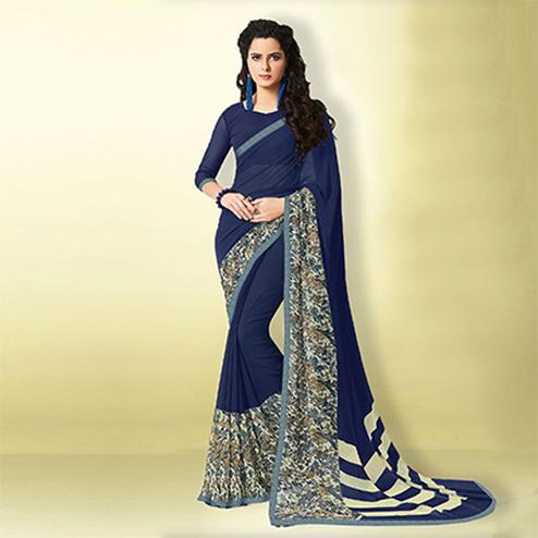 Graceful Blue Designer Digital Printed Georgette Saree