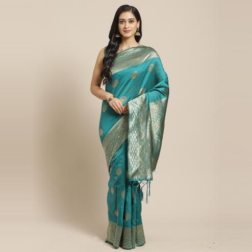 Appealing Teal Green Colored Festive Wear Woven Silk Saree
