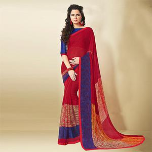 Charming Maroon Designer Digital Printed Georgette Saree