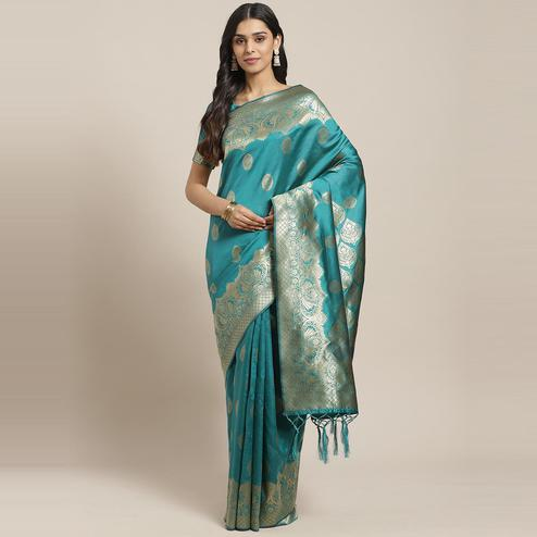 Exclusive Teal Green Colored Festive Wear Woven Silk Saree