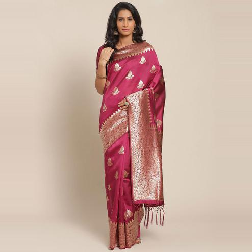 Jazzy Magenta Colored Festive Wear Woven Silk Saree