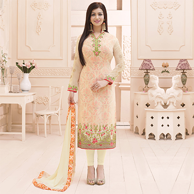 Cream Embroidered Work party Wear Suit