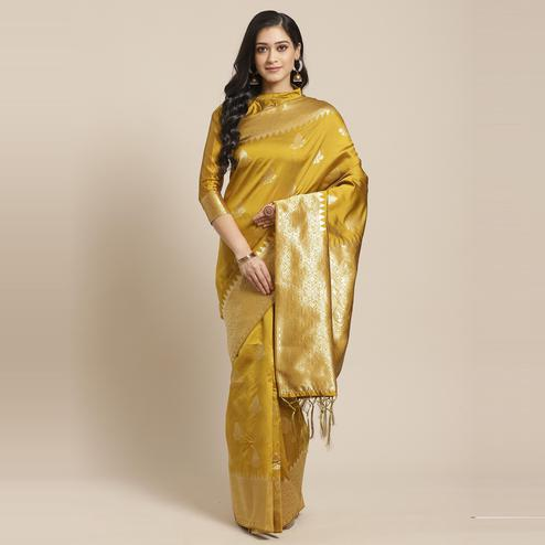 Delightful Gold Colored Festive Wear Woven Silk Saree