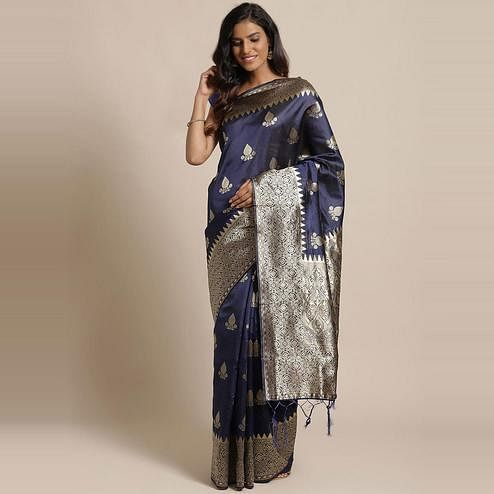 Engrossing Navy Blue Colored Festive Wear Woven Silk Saree