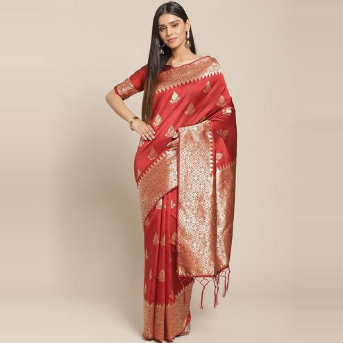 Captivating Maroon Colored Festive Wear Woven Silk Saree