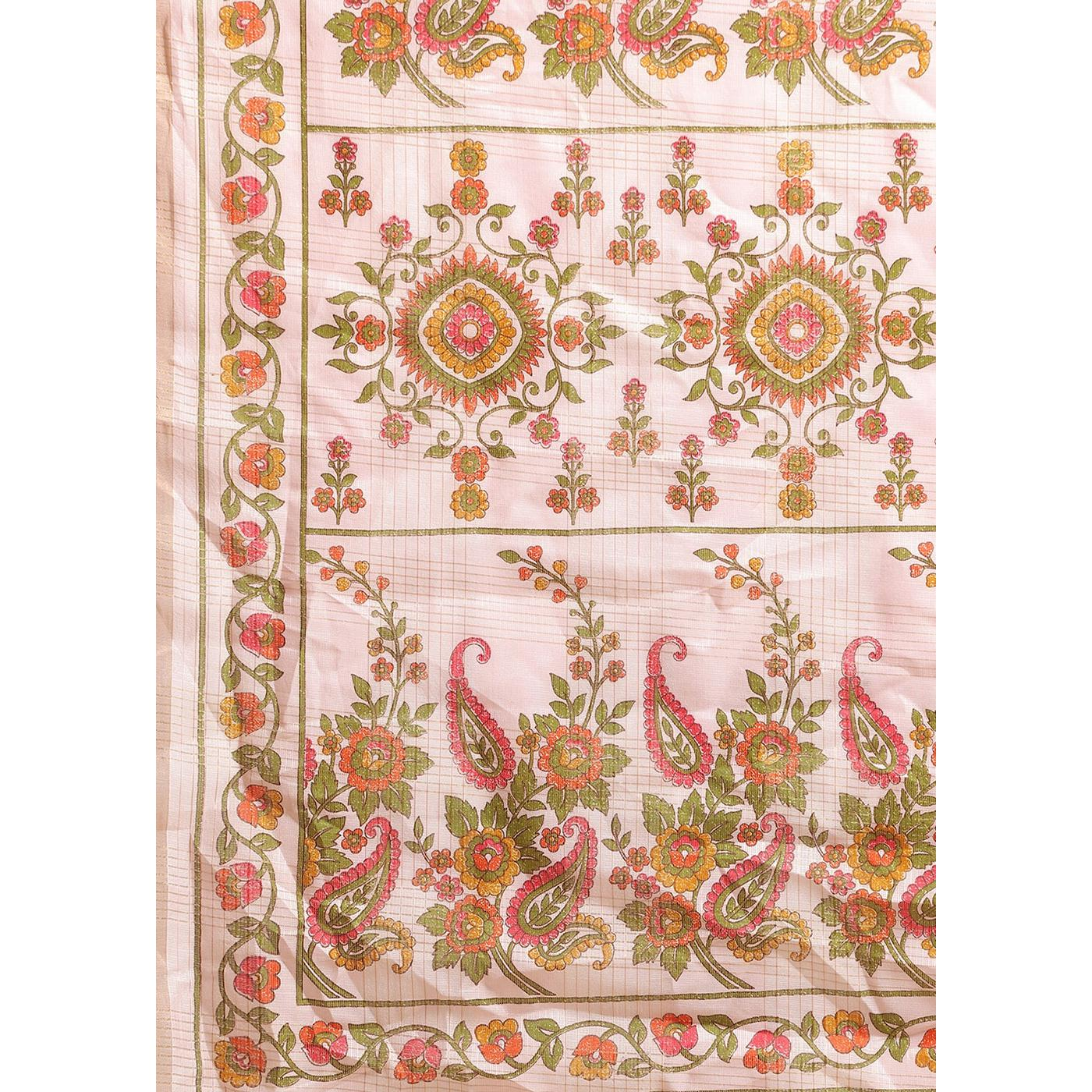 Fantastic Pink Colored Casual Wear Floral Printed Linen Saree