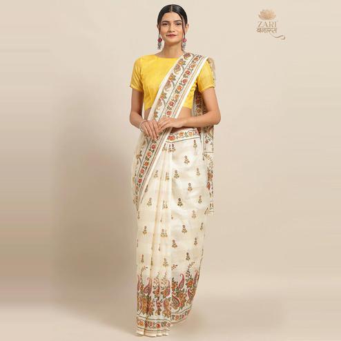Amazing Cream Colored Casual Wear Floral Printed Linen Saree