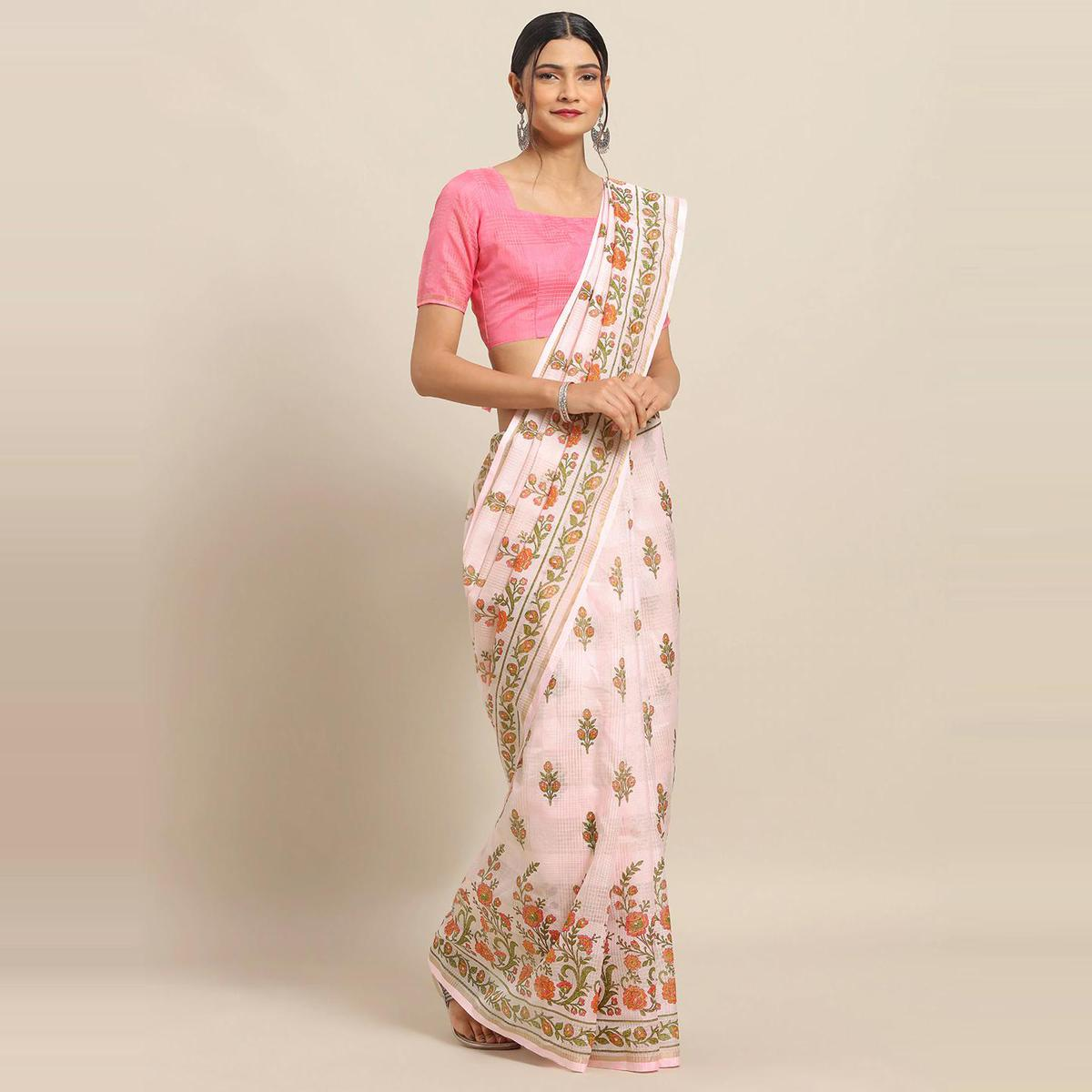 Gorgeous Pink Colored Casual Wear Floral Printed Linen Saree