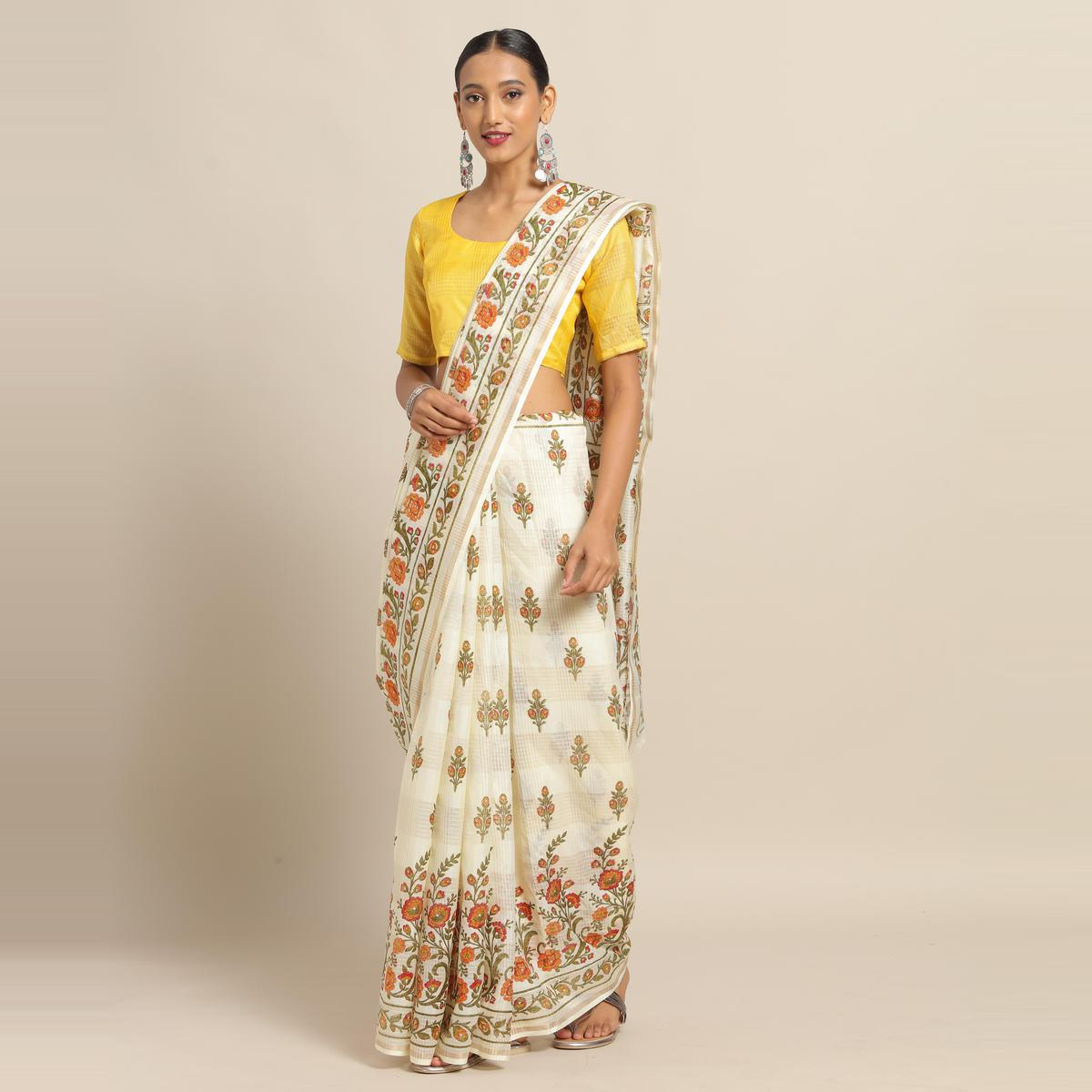 Blissful Cream Colored Casual Wear Floral Printed Linen Saree