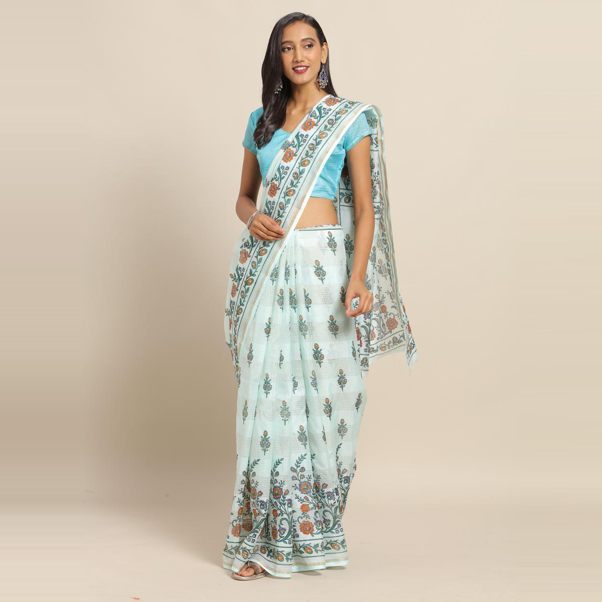 Ideal Sky Blue Colored Casual Wear Floral Printed Linen Saree