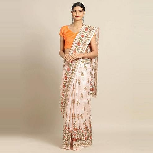Imposing Peach Colored Casual Wear Floral Printed Linen Saree
