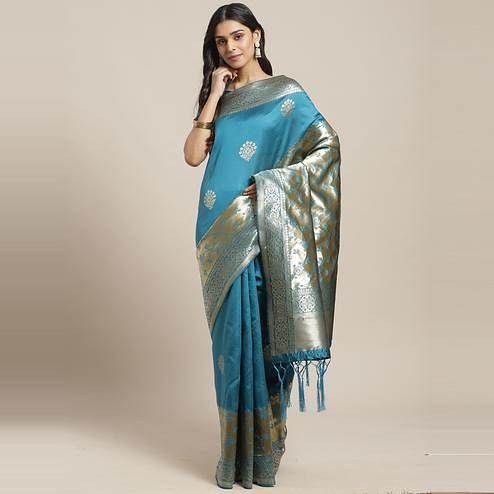 Trendy Teal Blue Colored Festive Wear Woven Silk Blend Saree