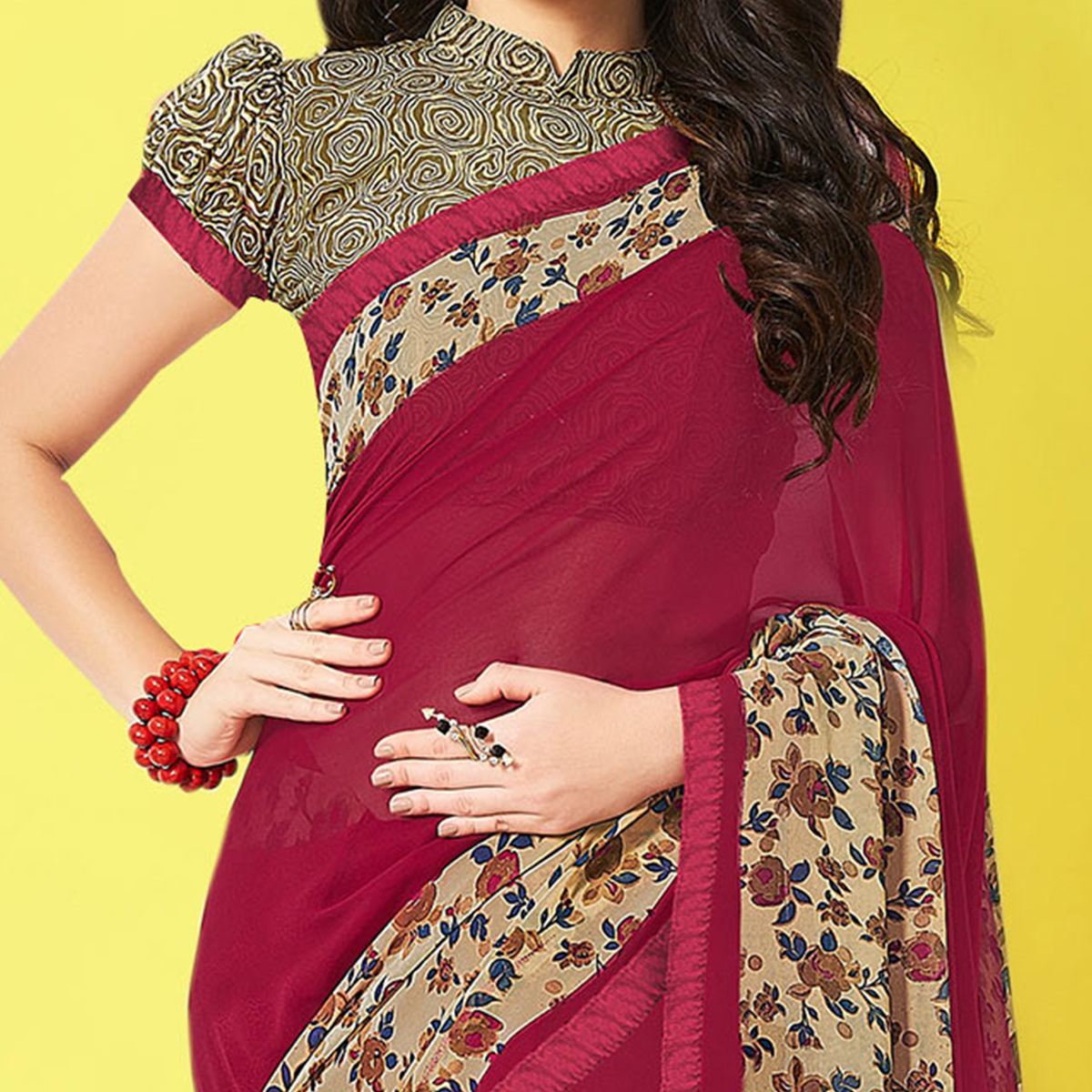 Gorgeous Maroon Designer Digital Printed Georgette Saree