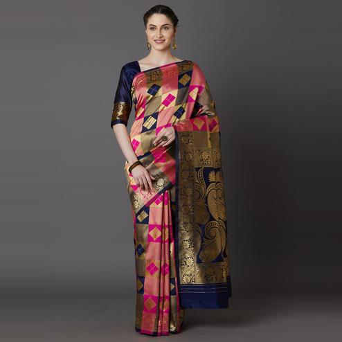 Energetic Navy Blue - Pink Colored Festive Wear Woven Silk Blend Saree