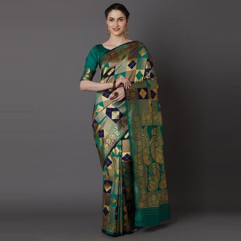 Glowing Sea Green - Navy Blue Colored Festive Wear Woven Silk Blend Saree