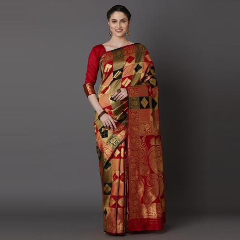 Mesmeric Red - Black Colored Festive Wear Woven Silk Blend Saree