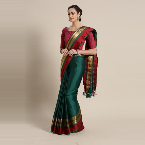 Unique Green Colored Festive Wear Woven Cotton Silk Saree