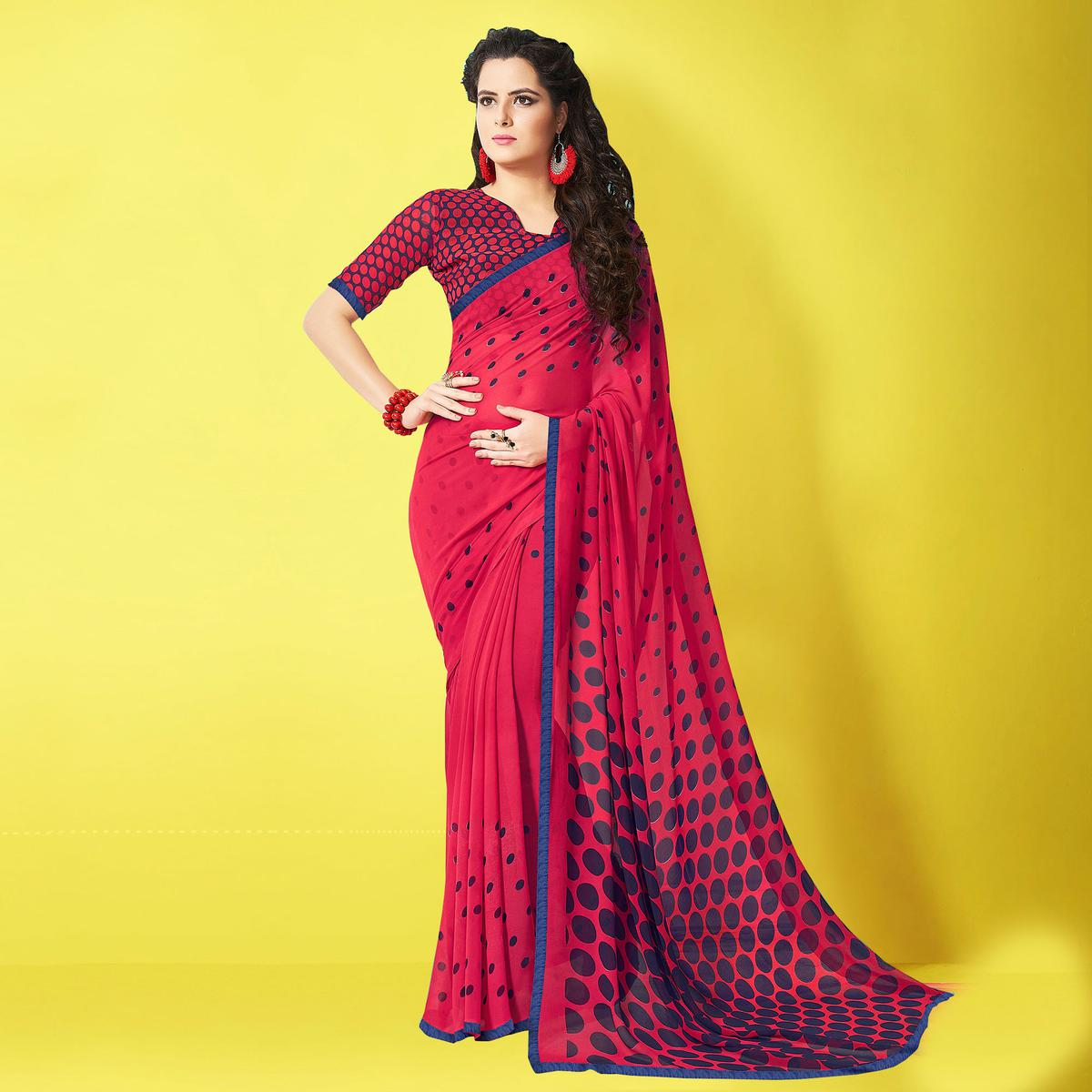 Mesmerising Red Designer Digital Printed Georgette Saree