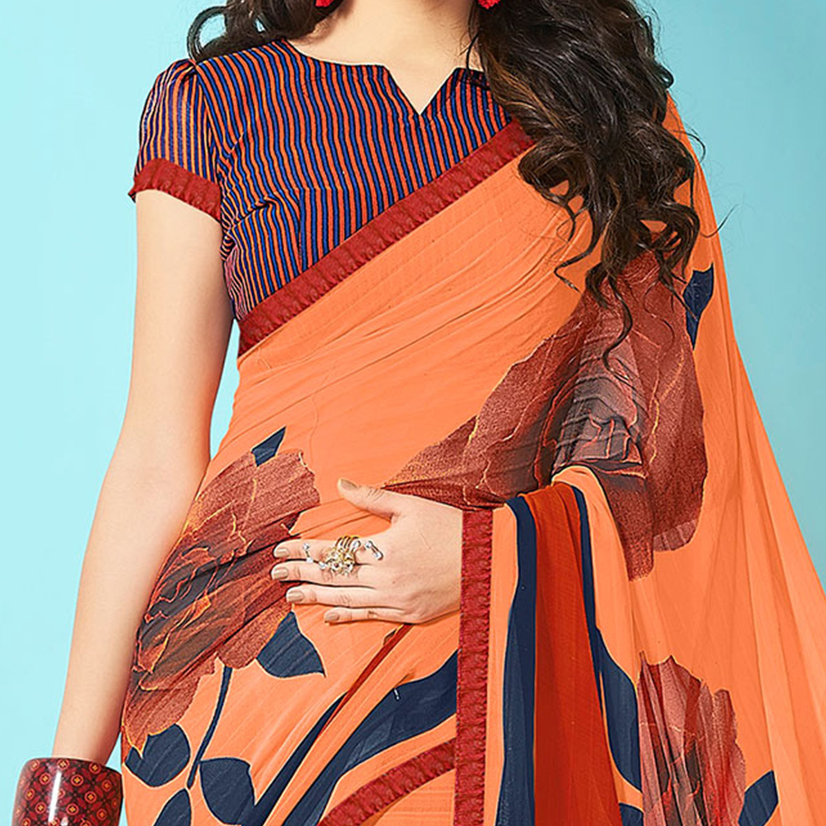 Dazzling Orange Designer Digital Printed Georgette Saree