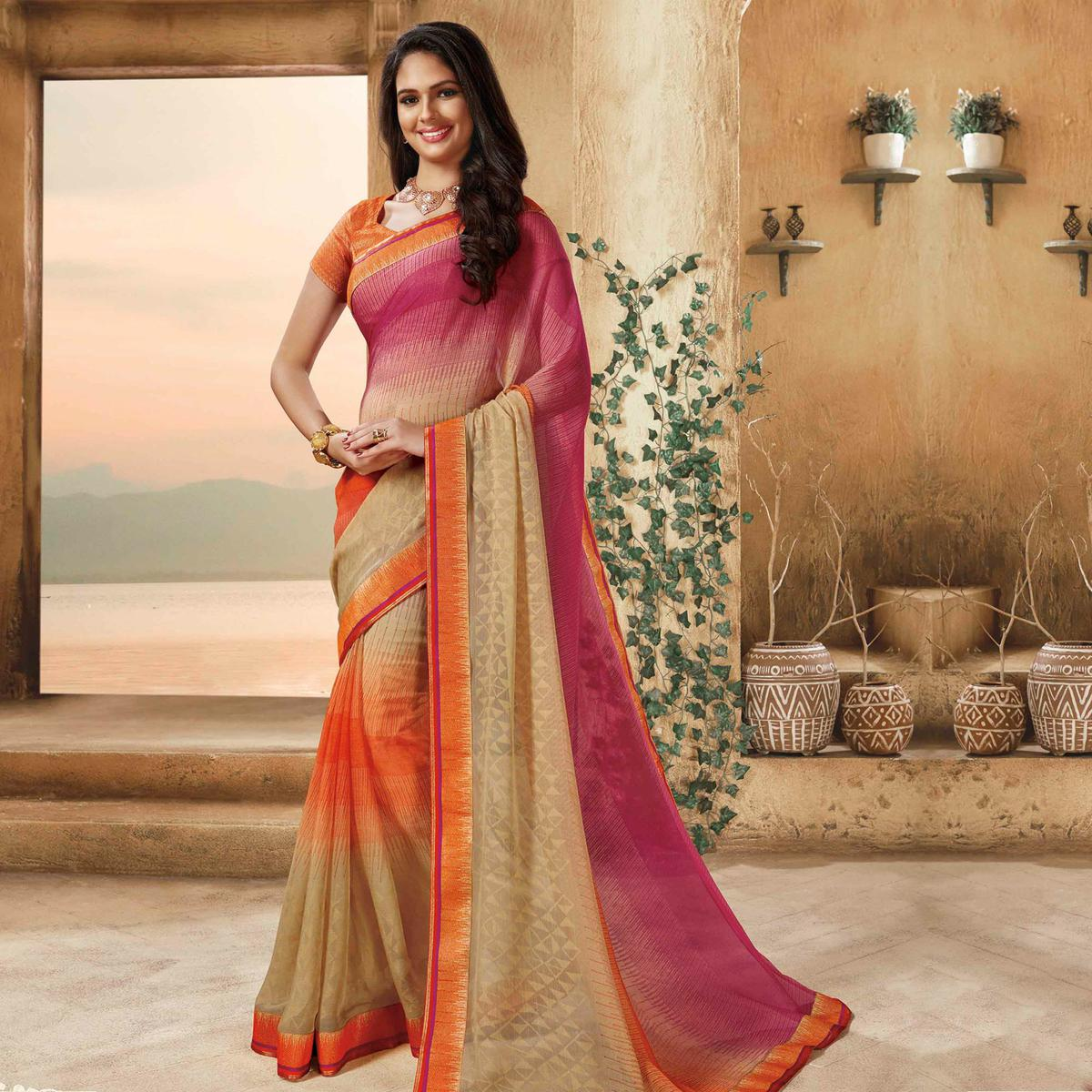 Charming Pink - Cream Colored Partywear Printed Brasso Saree