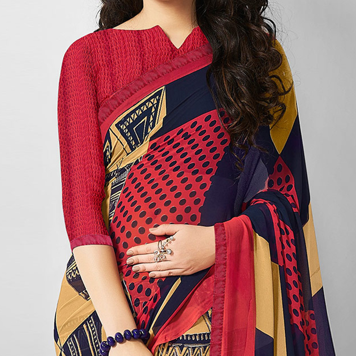 Adorable Red-Beige Colored  Designer Digital Printed Georgette Saree