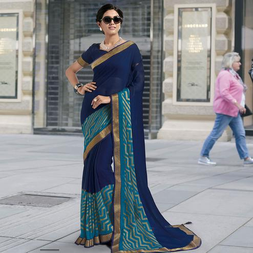 Breathtaking Navy Blue Colored Partywear Printed Brasso Saree