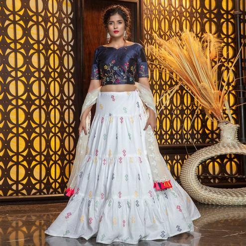 Staring White - Navy Blue Colored Partywear Embroidered Cotton Lehenga Choli
