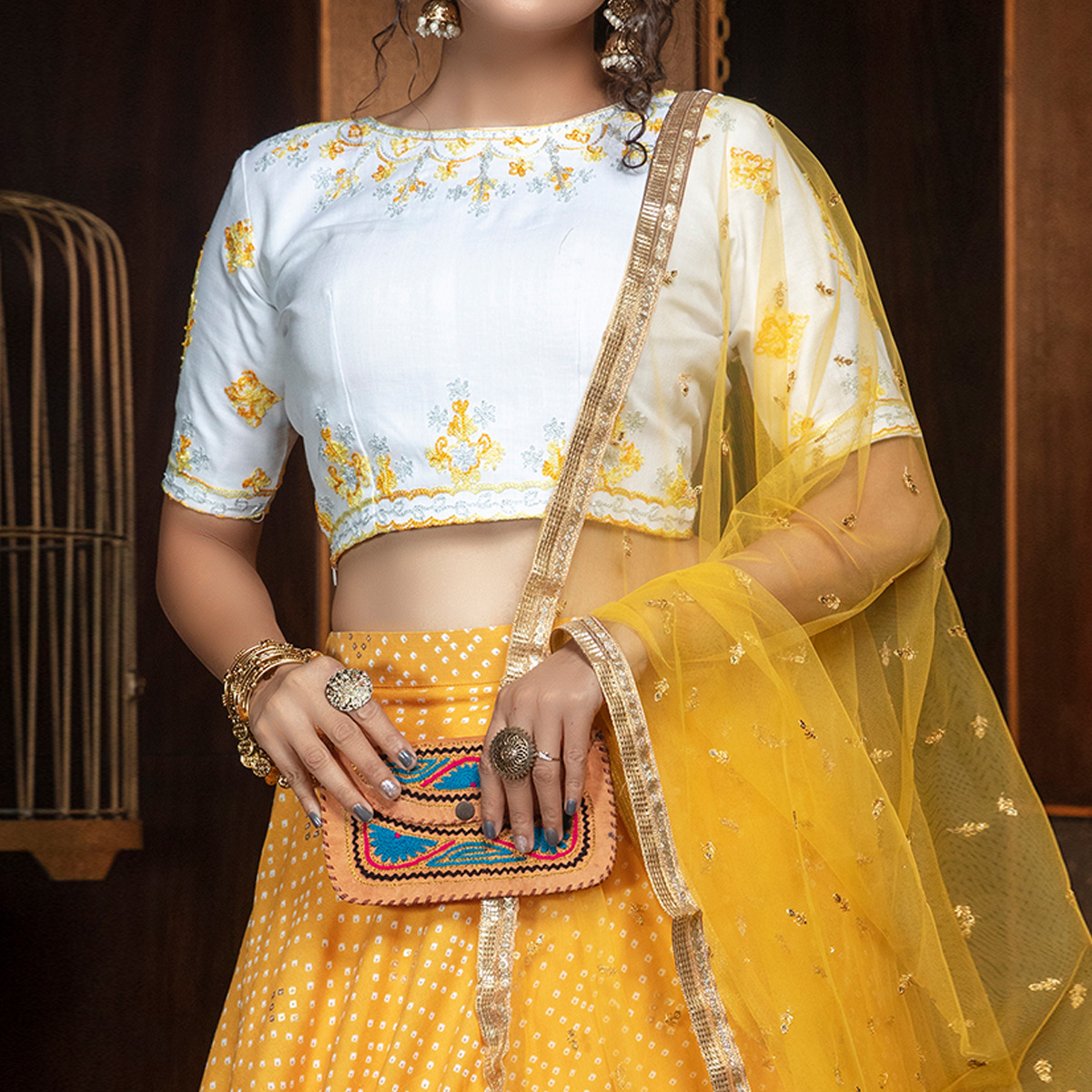Surpassing Mustard Yellow - White Colored Partywear Embroidered Cotton Lehenga Choli