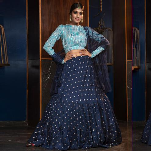 Arresting Navy Blue - Sky Blue Colored Partywear Woven Cotton Lehenga Choli