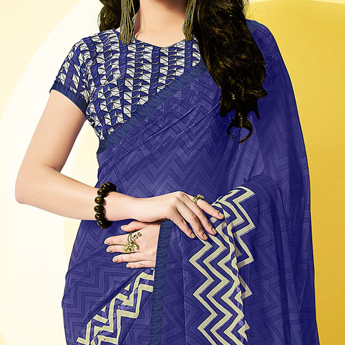 Attractive Blue Designer Digital Printed Georgette Saree