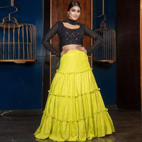 Desirable Florence Green - Black Colored Partywear Embroidered Muslin Cotton Lehenga Choli