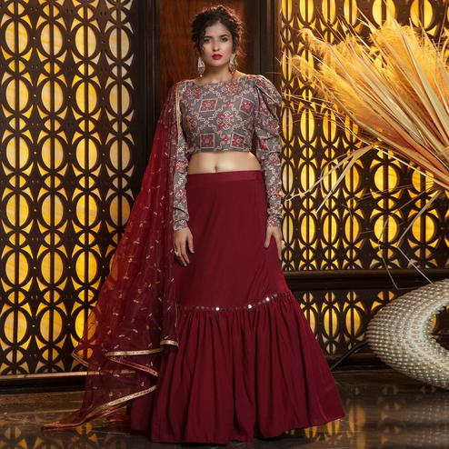 Exotic Maroon - Brown Colored Partywear Printed Georgette Lehenga Choli