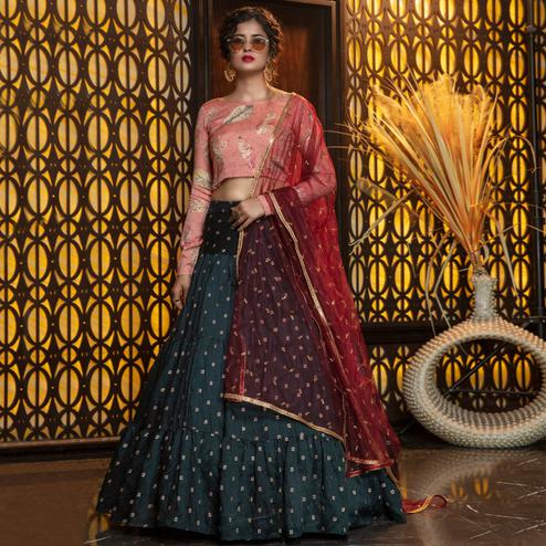 Trendy Green Colored Partywear Woven Cotton Lehenga Choli